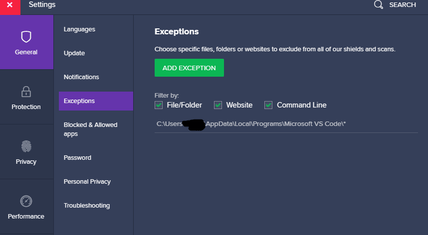 how to add exceptions to avast